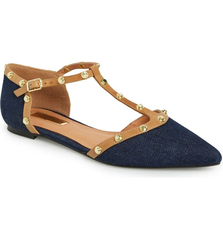 HALOGEN<SUP>®</SUP> 'Olson' Pointy Toe Studded T-Strap Flat, Main, color, 400