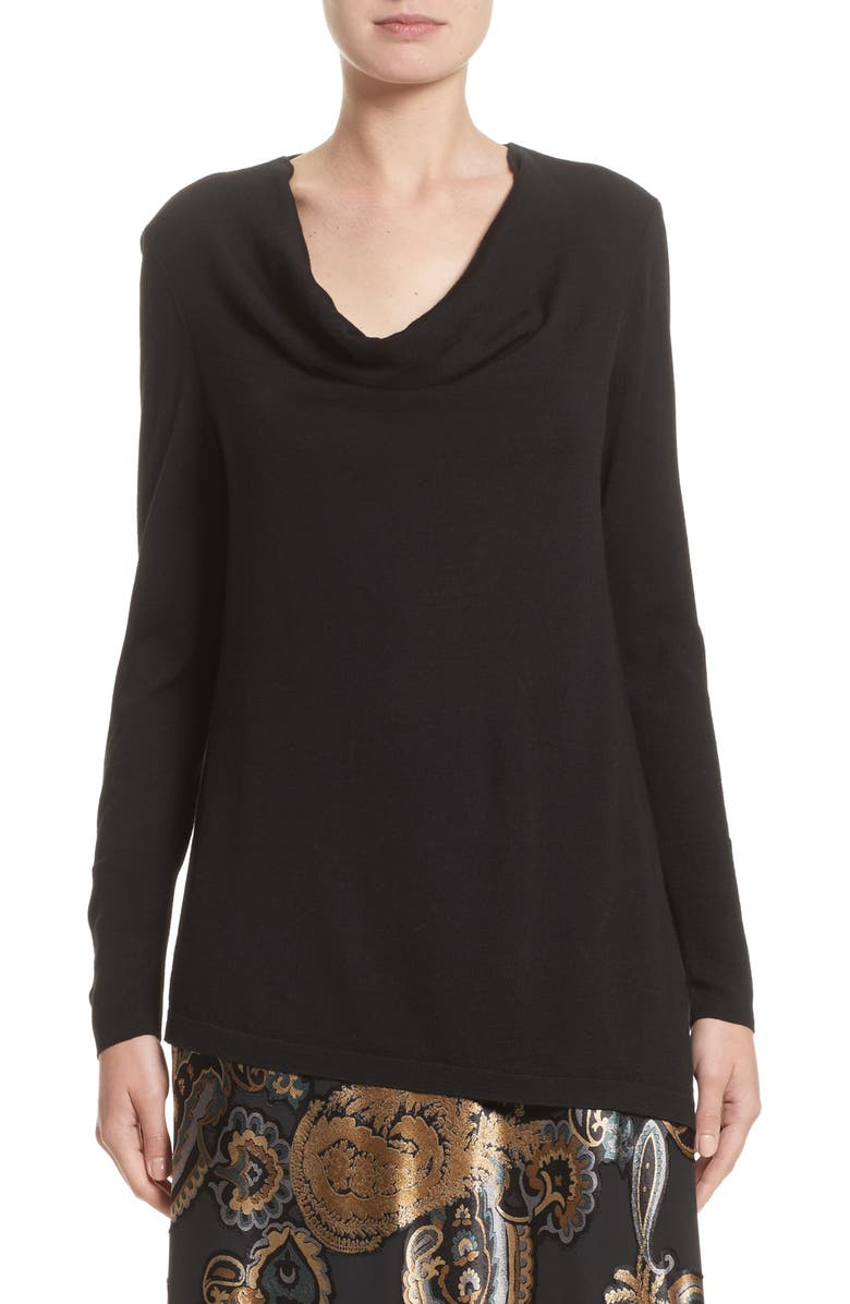 LAFAYETTE 148 NEW YORK Asymmetrical Cowl Neck Sweater, Main, color, 001