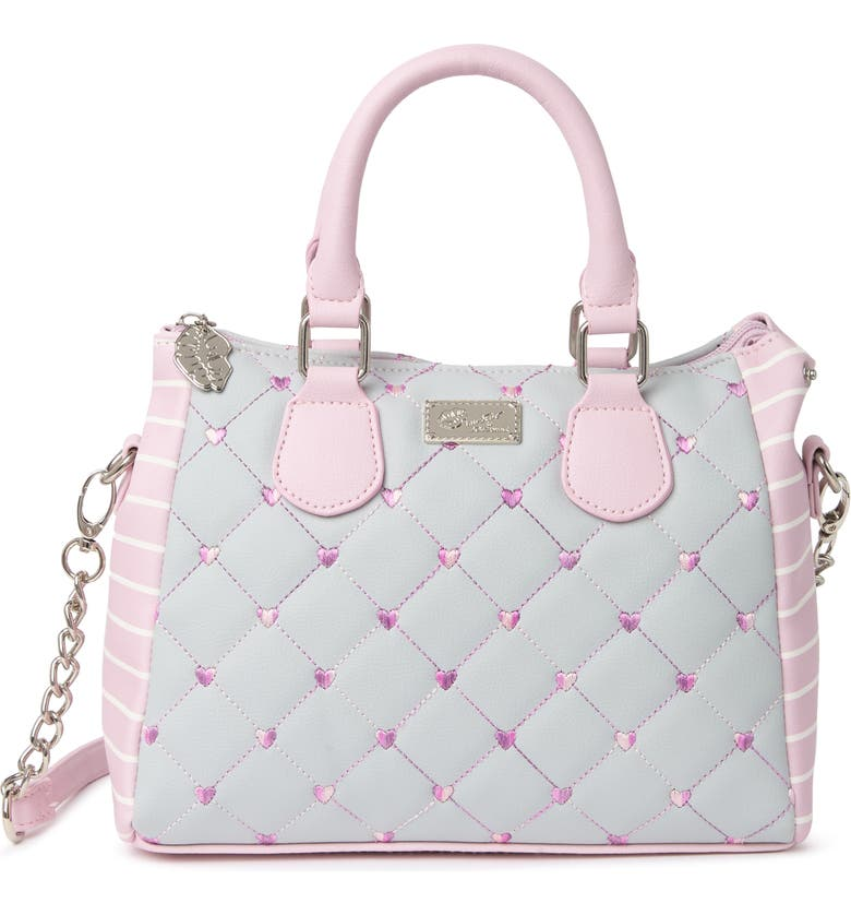 BETSEY JOHNSON Amelia Quilted Mid Size Satchel, Main, color, GREY MULTI