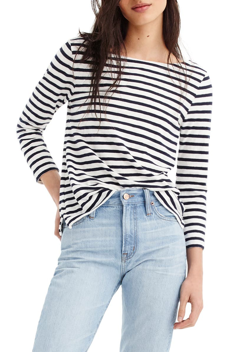 J.CREW Stripe Boat Neck Tee, Main, color, 400