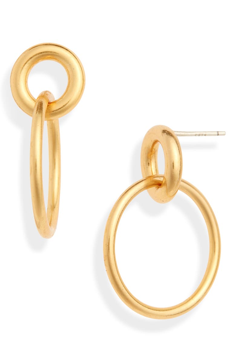 MADEWELL Classic Double Hoop Earrings, Main, color, VINTAGE GOLD