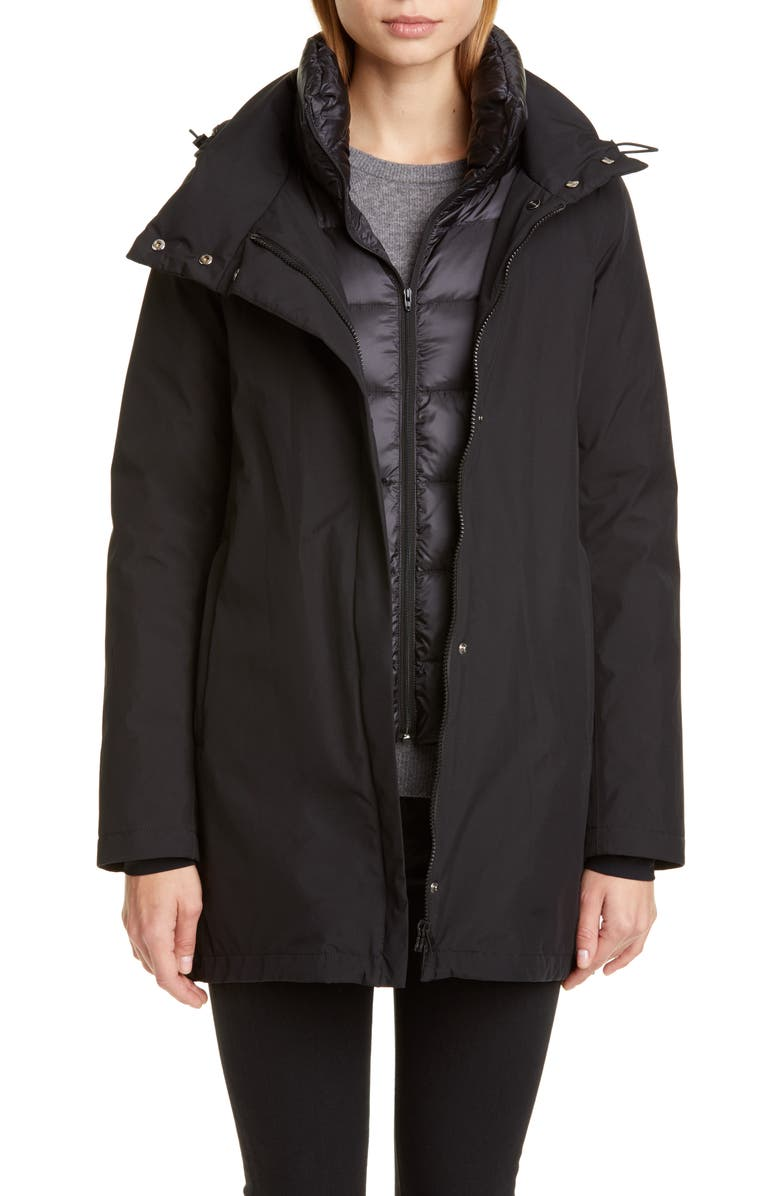 HERNO Gore-Tex<sup>®</sup> Coat with Removable Down Bib, Main, color, Black