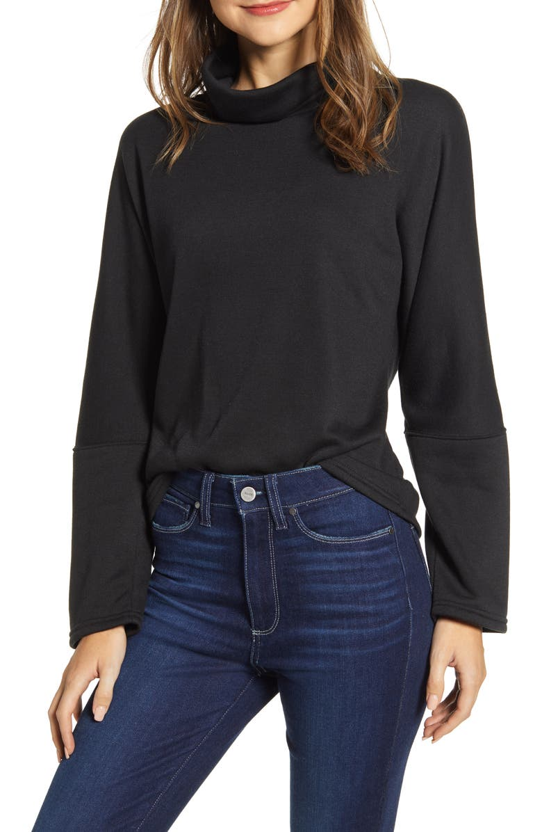CASLON<SUP>®</SUP> Cozy Turtleneck Sweatshirt, Main, color, 001