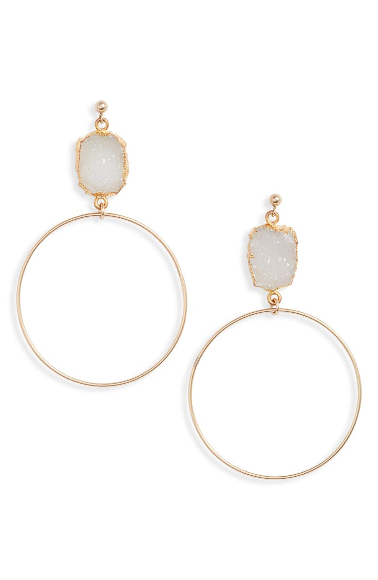 SET & STONES Colby Drop Earrings, Main, color, WHITE