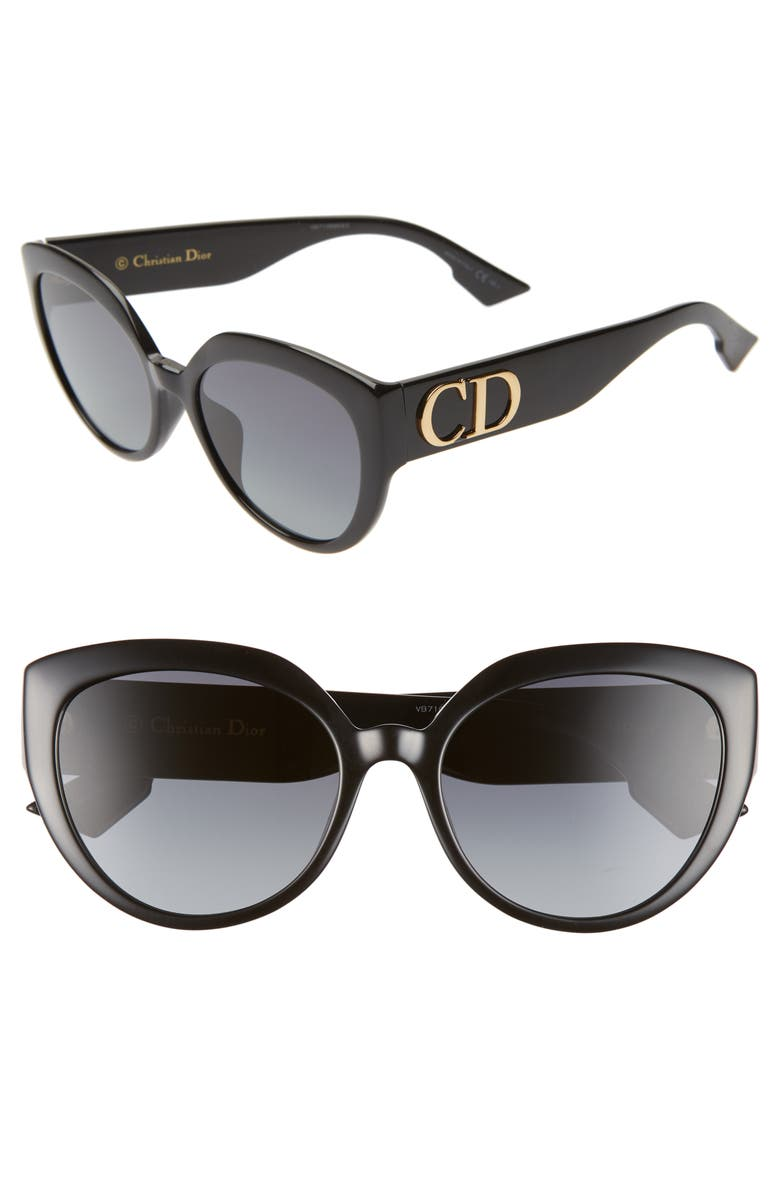 DIOR 56mm Special Fit Cat Eye Sunglasses, Main, color, BLACK