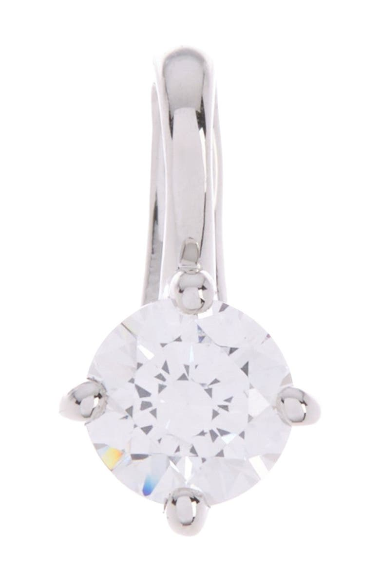 BREUNING Sterling Silver 4.3mm Prong Set Round CZ Pendant, Main, color, SILVER