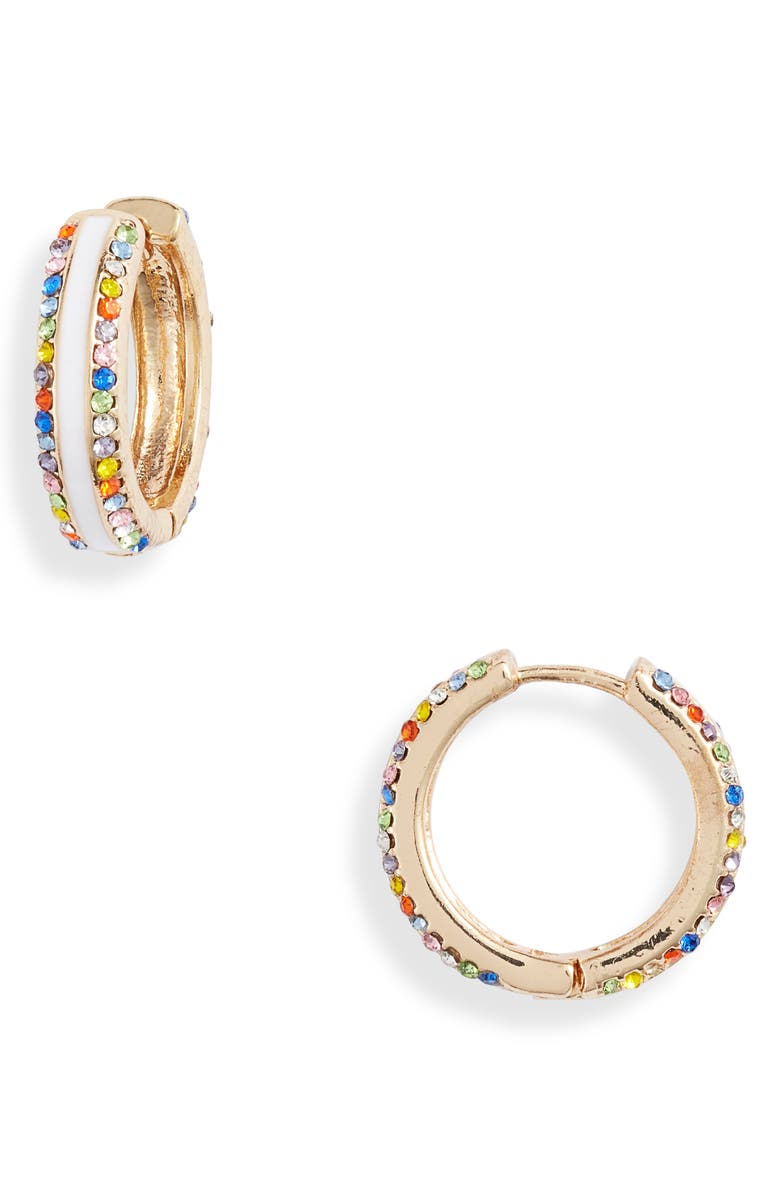 8 OTHER REASONS Frosted Multi Stone Hoop Earrings, Main, color, 100