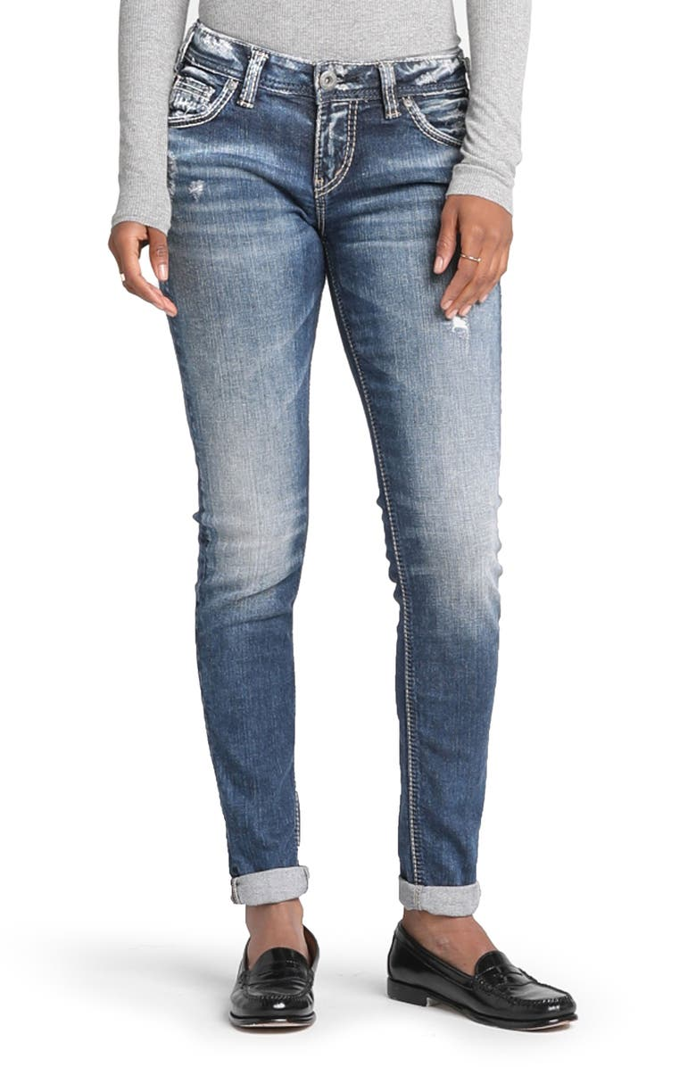 SILVER JEANS CO. Girlfriend Distressed Jeans, Main, color, INDIGO
