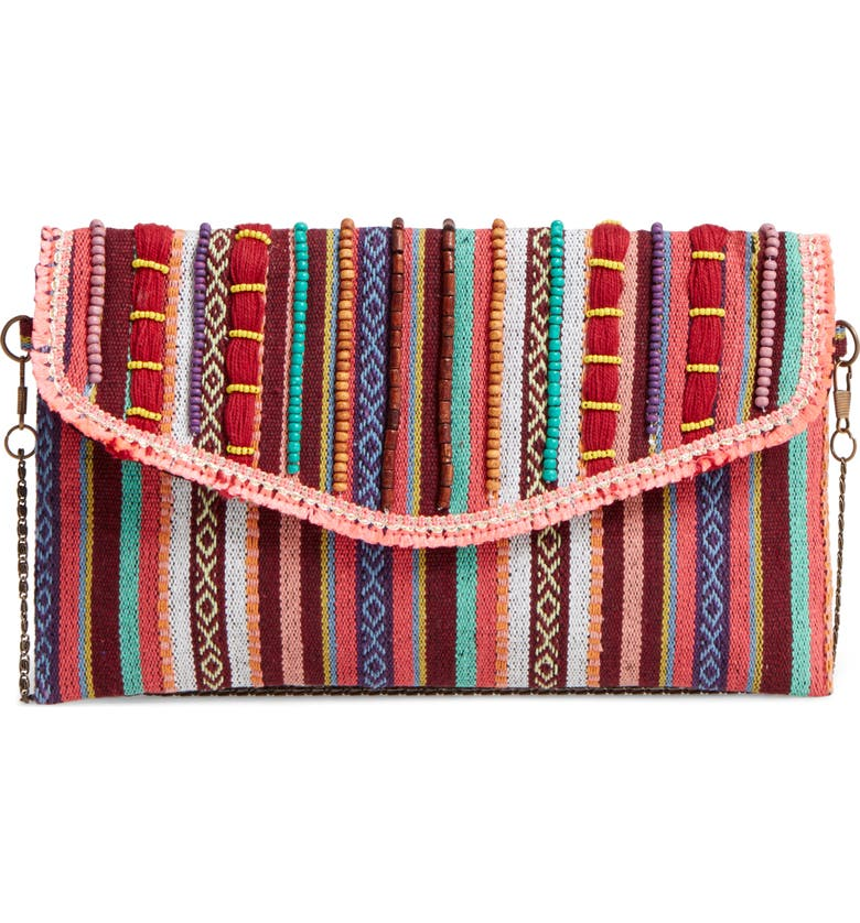 STEVE MADDEN Steven by Steve Madden Jaura Beaded Envelope Clutch, Main, color, 600
