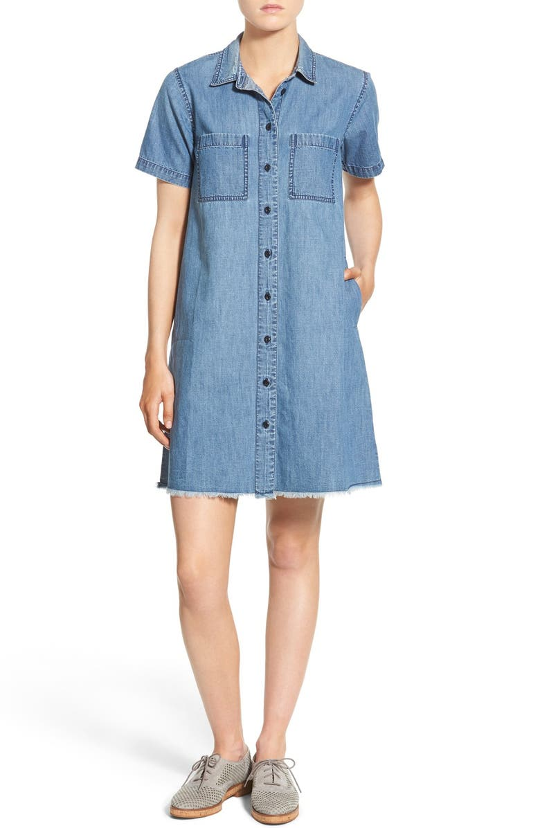 MADEWELL Frayed Hem Denim Shirtdress, Main, color, 400