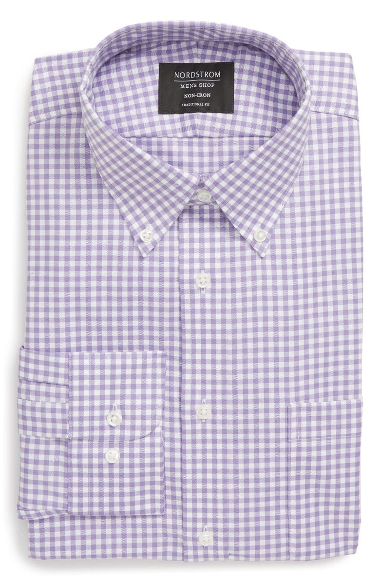 NORDSTROM Traditional Fit Non-Iron Gingham Dress Shirt, Main, color, PURPLE ENGLISH