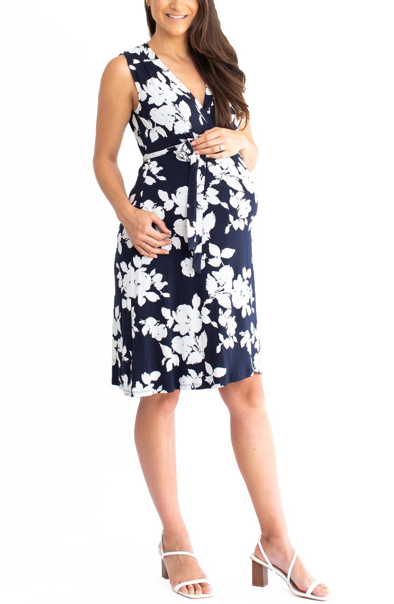 ANGEL MATERNITY Print Maternity Wrap Dress, Main, color, NAVY PRINT