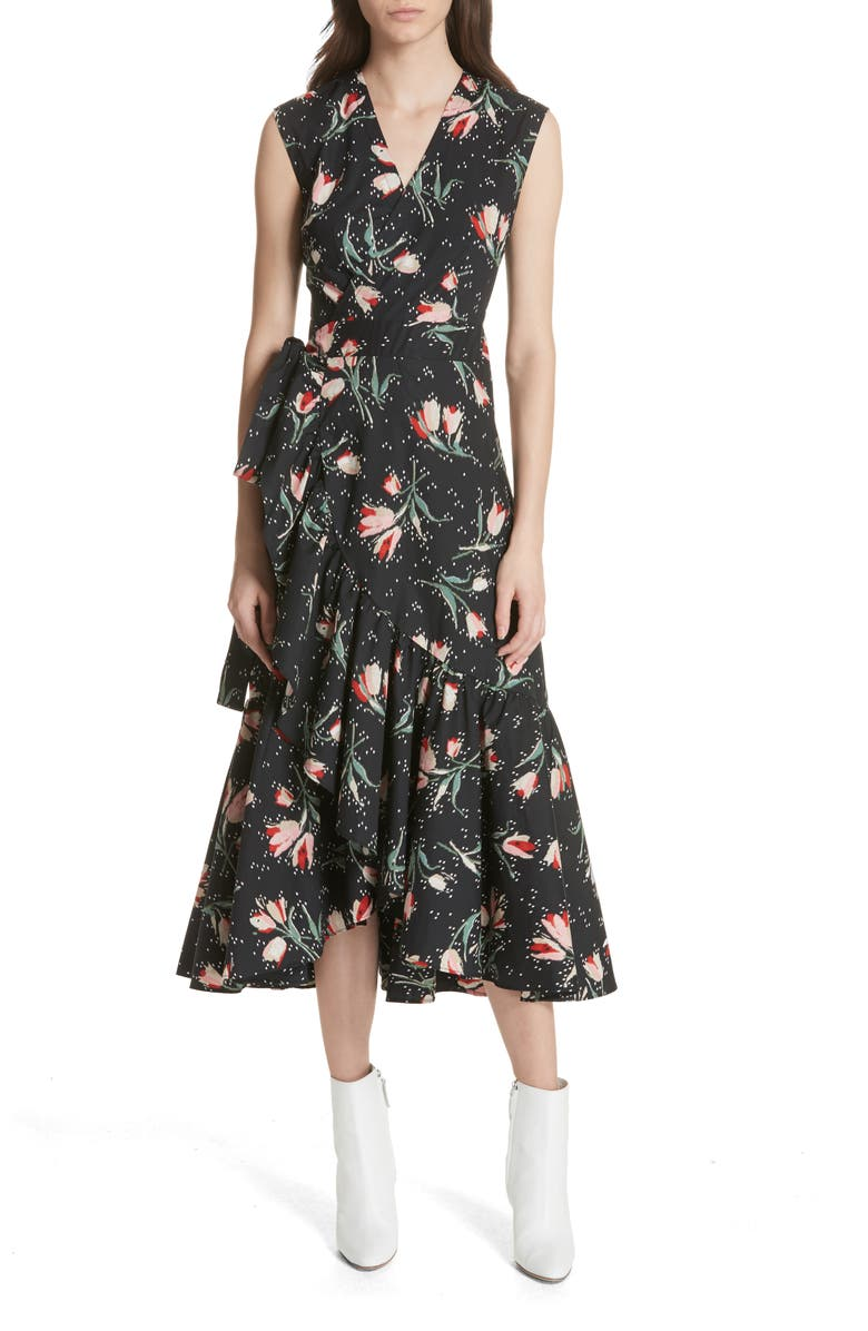 REBECCA TAYLOR Ikat Floral Wrap Midi Dress, Main, color, 014