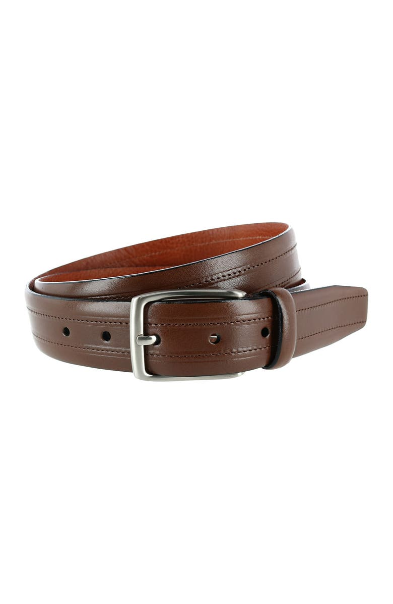 PHENIX Embossed Italian Leather Dress Belt with Stitching, Main, color, BROWN-200