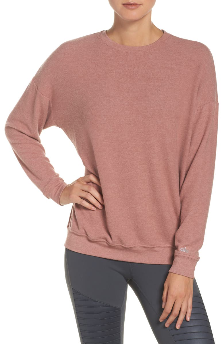 ALO Soho Pullover, Main, color, PINK MAUVE