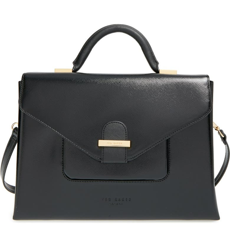 TED BAKER LONDON 'Large' Faux Leather Tote, Main, color, 001