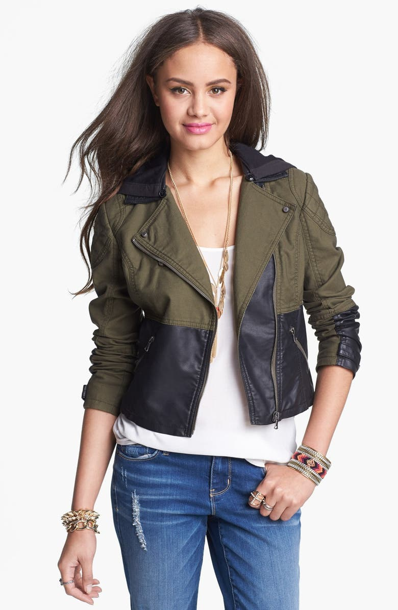 COLLECTION B Faux Leather Panel Hooded Jacket, Main, color, 369
