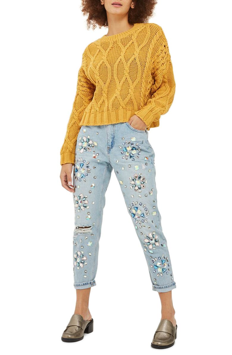 TOPSHOP Limited Edition Beaded Mom Jeans, Main, color, MID DENIM MULTI
