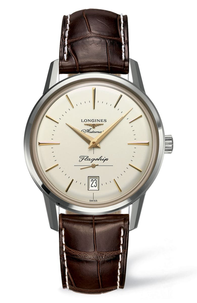 LONGINES Flagship Heritage Automatic Leather Strap Watch, 38.5mm, Main, color, BROWN/ SILVER