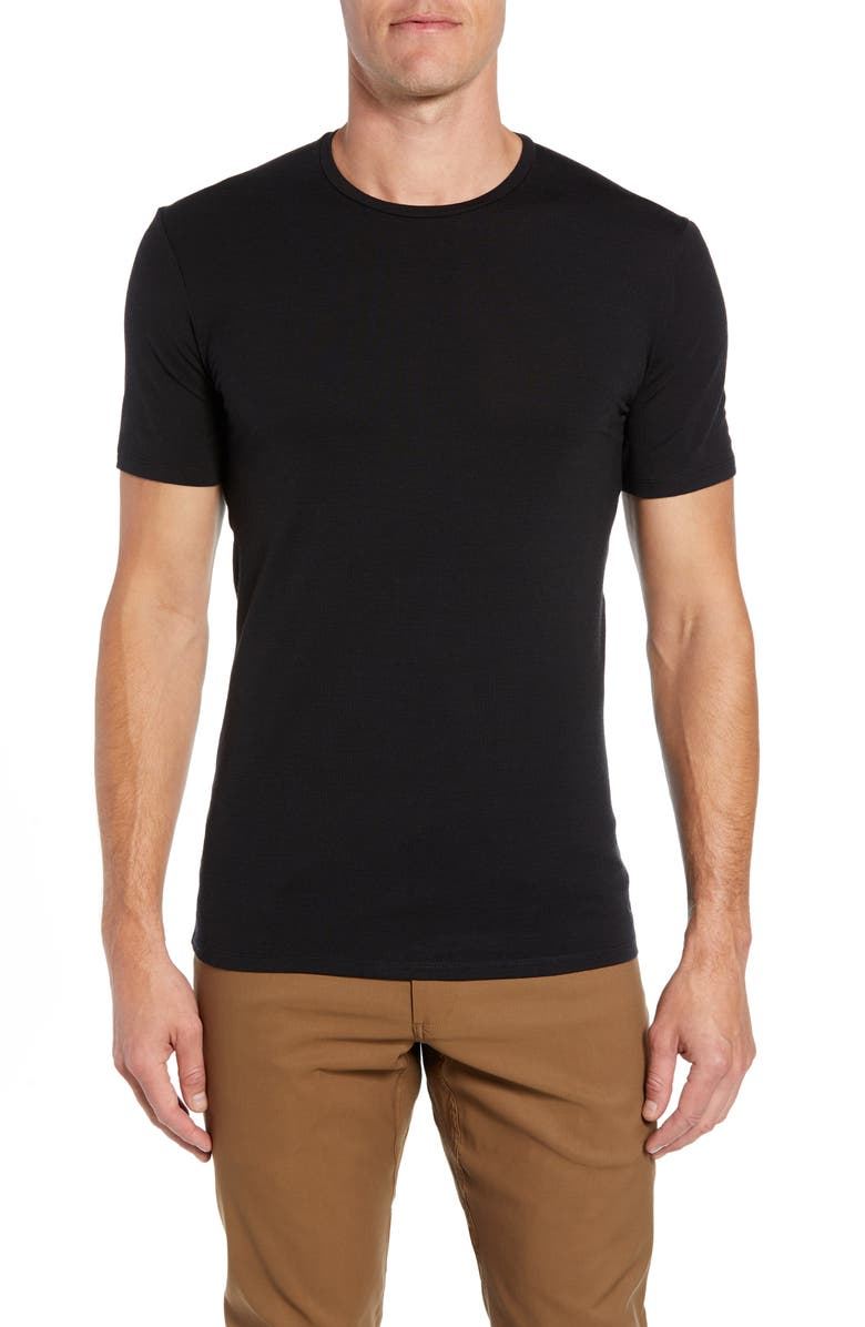 ICEBREAKER Anatomica Short Sleeve Crewneck T-Shirt, Main, color, BLACK/ MONSOON