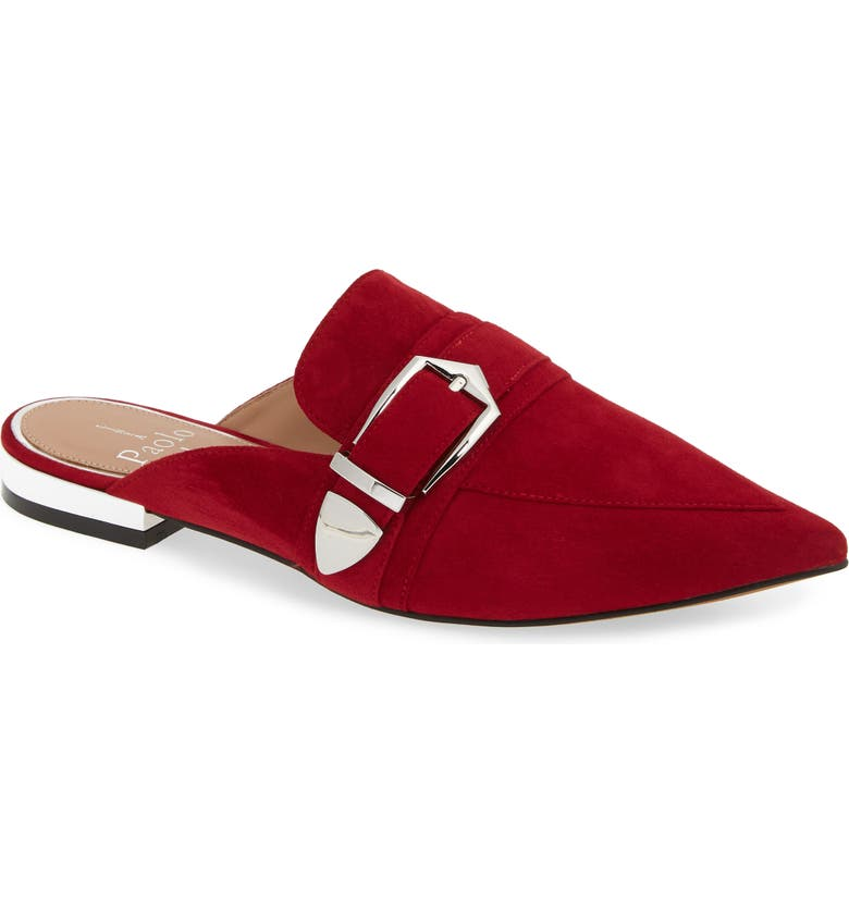 LINEA PAOLO Ace Buckle Pointed Toe Mule, Main, color, RED SUEDE