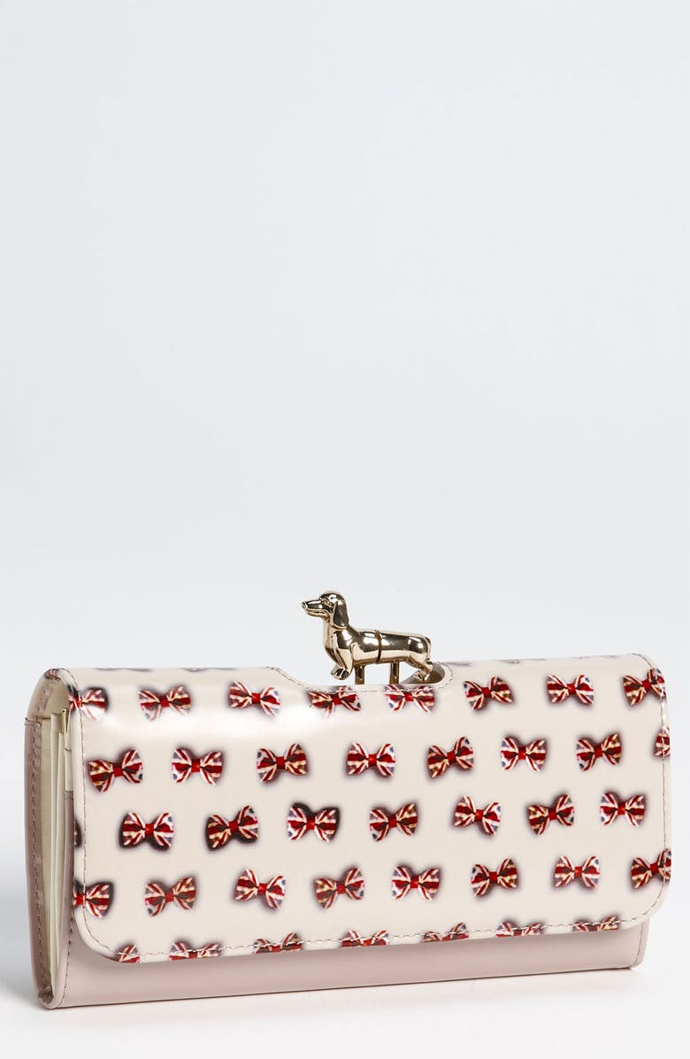 TED BAKER LONDON 'Union Jack - Dachshund Bobble' Matinee Wallet, Main, color, NATURAL MULTI