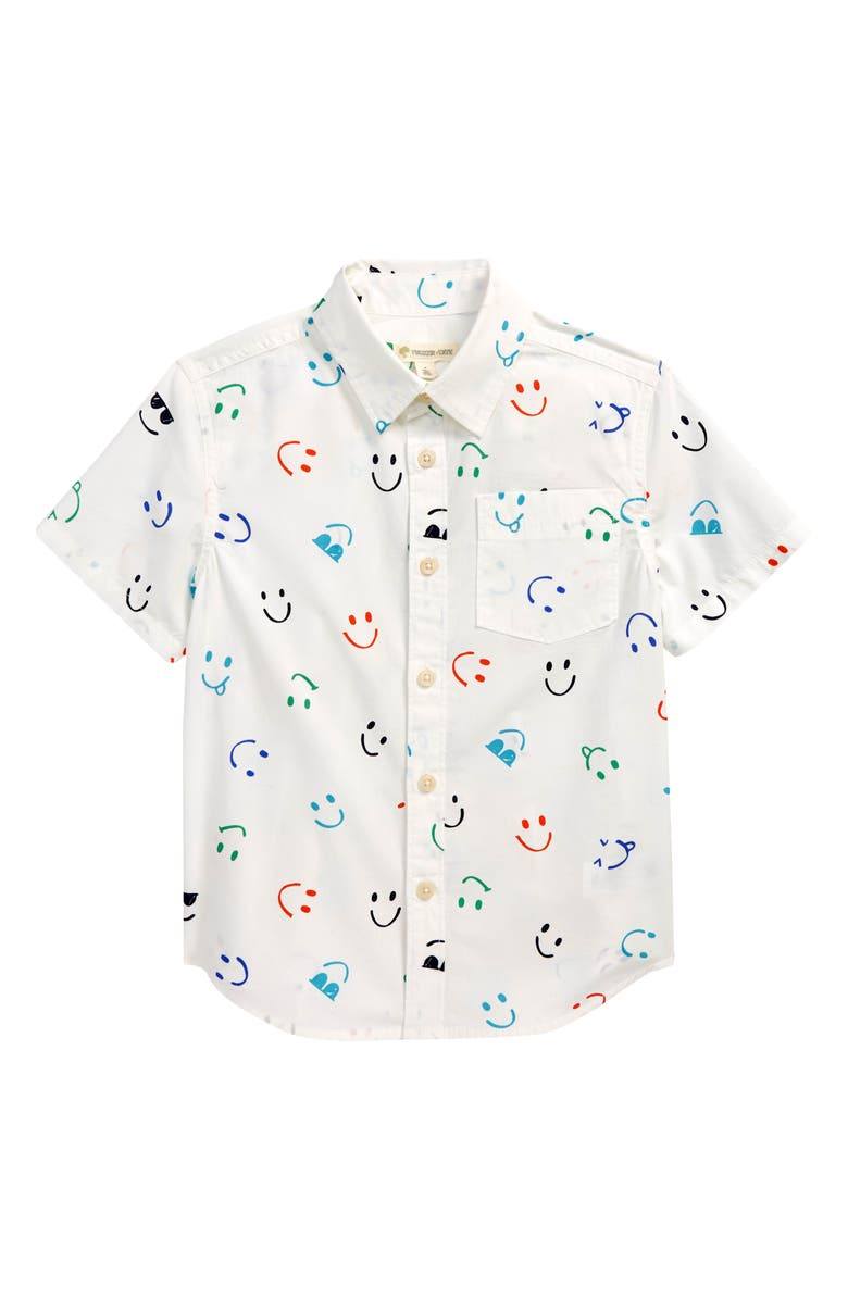 TUCKER + TATE Kids' Print Button-Up Shirt, Main, color, IVORY CLOUD SMILEY FACES