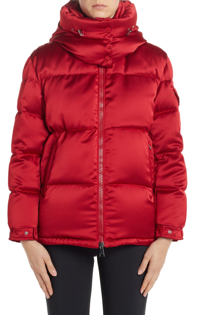MONCLER Wil Hooded Quilted Down Satin Puffer Jacket, Main, color, 610