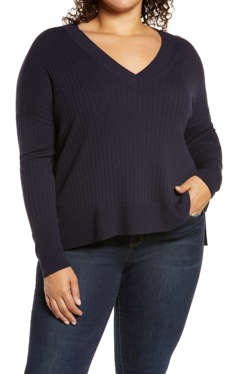 TREASURE AND BOND Wide Ribbed V-Neck Pullover, Main, color, NAVY NIGHT