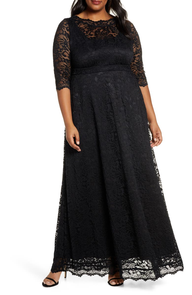 KIYONNA Leona Lace Evening Gown, Main, color, ONYX