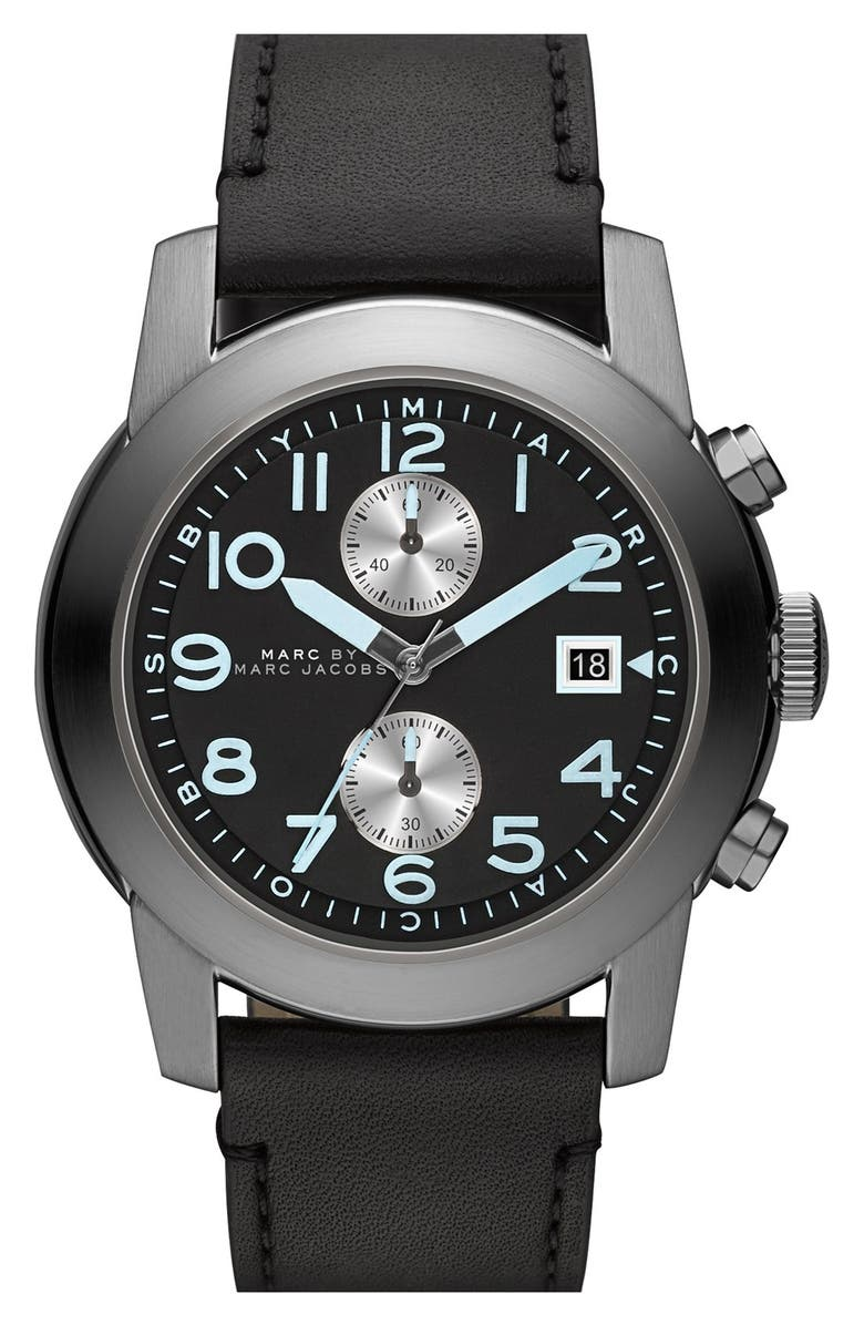 MARC BY MARC JACOBS 'Larry' Chronograph Leather Strap Watch, 46mm, Main, color, 001