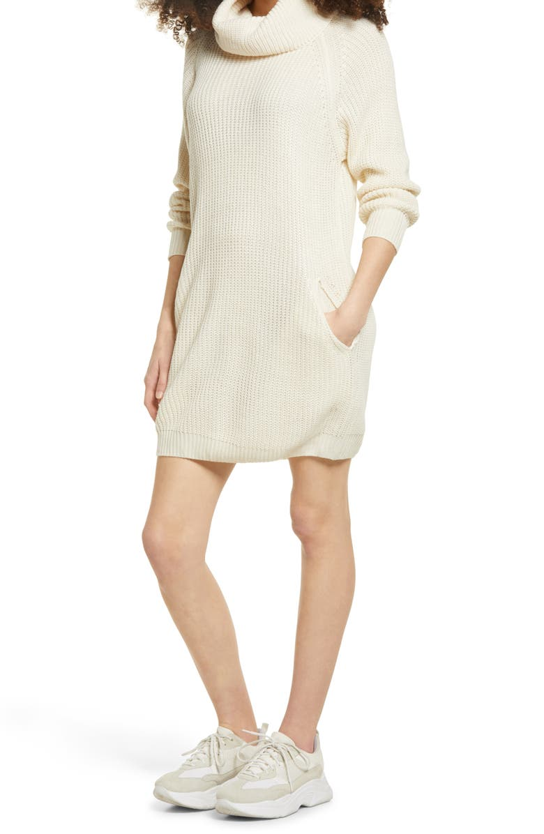 SNDYS Cowl Neck Sweater Dress, Main, color, SAND