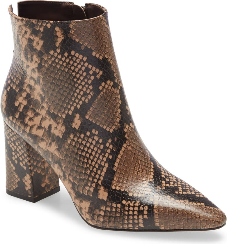 VINCE CAMUTO Cammen Pointed Toe Bootie, Main, color, BLUSH WINDSOR SNAKE PRINT