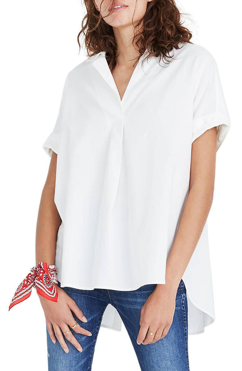 MADEWELL Courier Button Back Shirt, Main, color, PURE WHITE