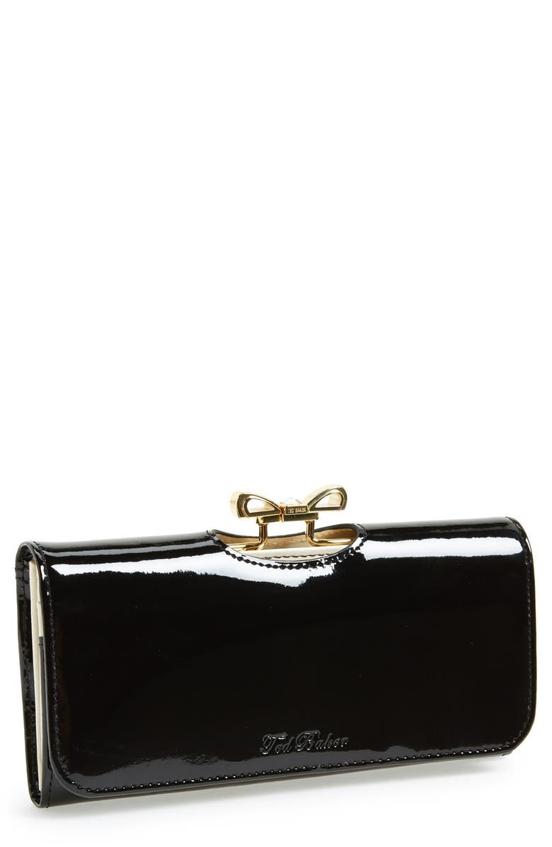 TED BAKER LONDON 'Crystal Bow Bobble' Matinee Wallet, Main, color, Black