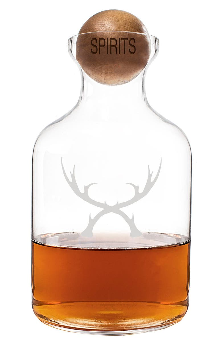 CATHY'S CONCEPTS 'Antlers' Glass Decanter & Wood Stopper, Main, color, 200