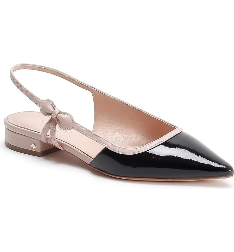 KATE SPADE NEW YORK mae bow slingback pointed toe flat, Main, color, 001
