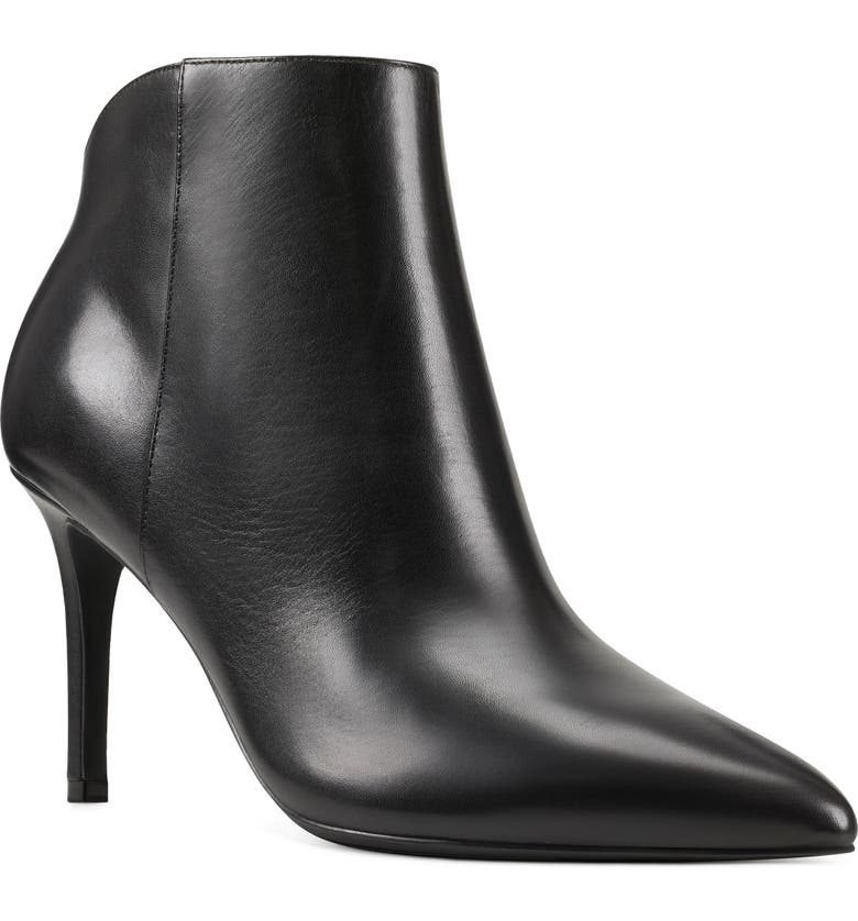 NINE WEST Feina Pointed Toe Ankle Boot, Main, color, BLACK LEATHER