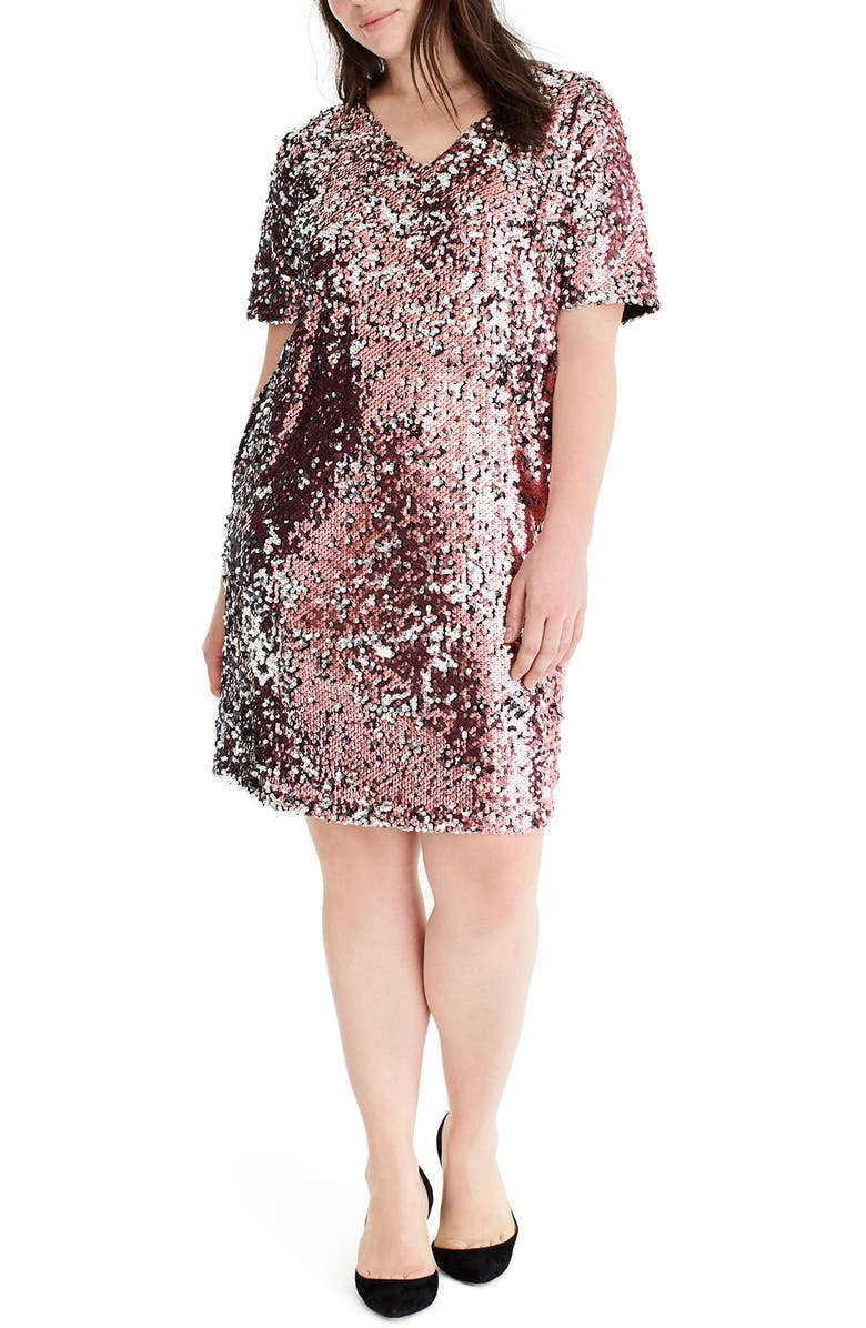 UNIVERSAL STANDARD for J.Crew Sequin Shift Dress, Main, color, PALE PINK/ SILVER