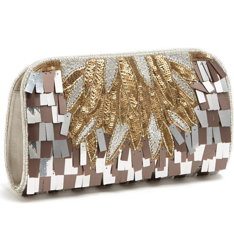 MICKY LONDON HANDBAGS 'Deco' Sequin Clutch, Main, color, 040