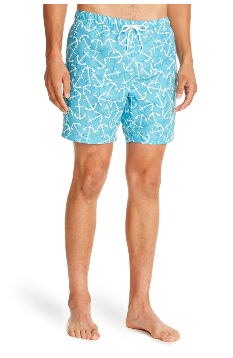 CONSTRUCT Teal Arch Print Drawstring Swimming Trunks, Main, color, TEAL