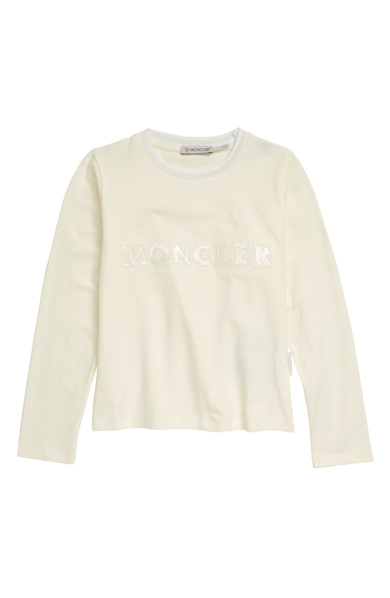 MONCLER Kids' Logo Long Sleeve Graphic Tee, Main, color, WHITE