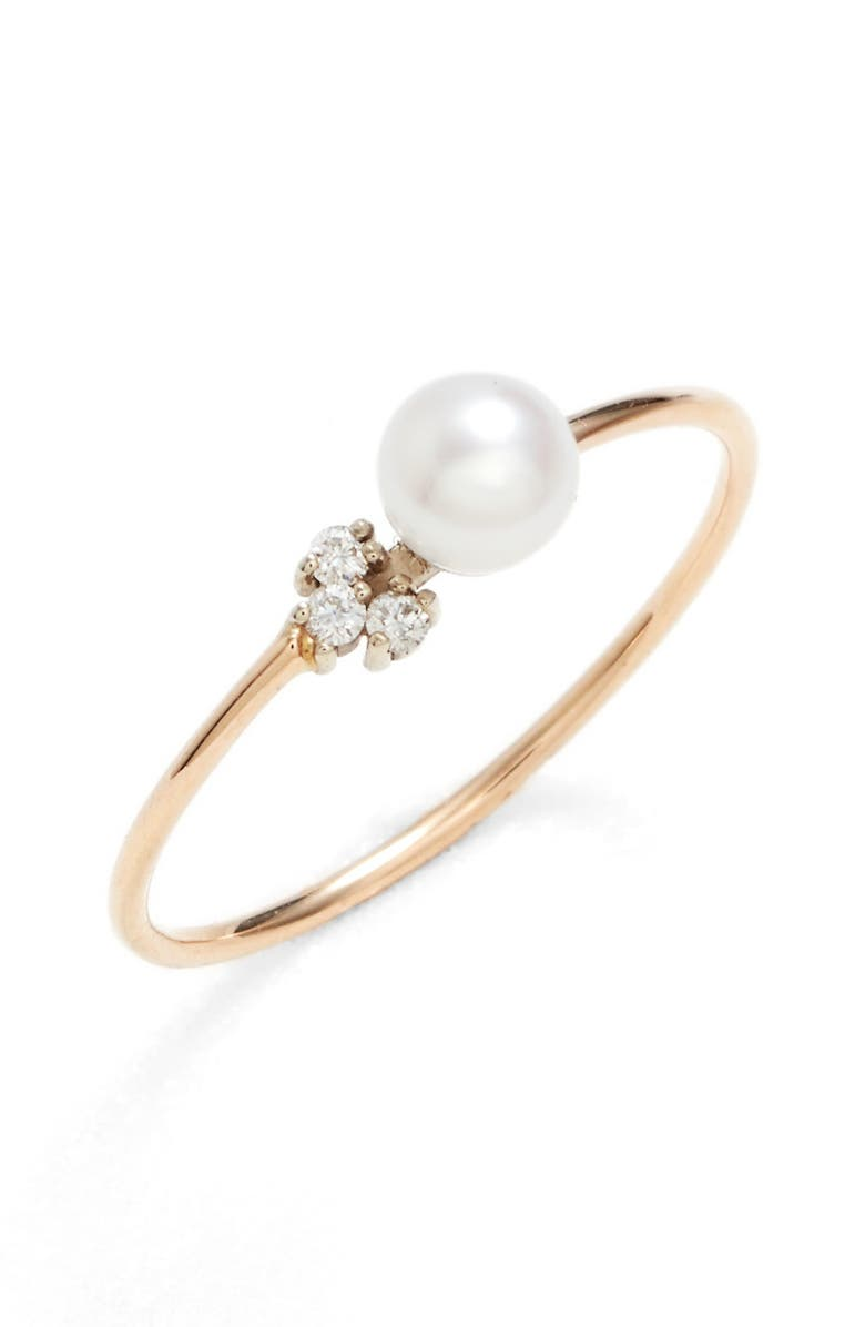 POPPY FINCH Pearl & Diamond Ring, Main, color, YELLOW GOLD/ WHITE PEARL