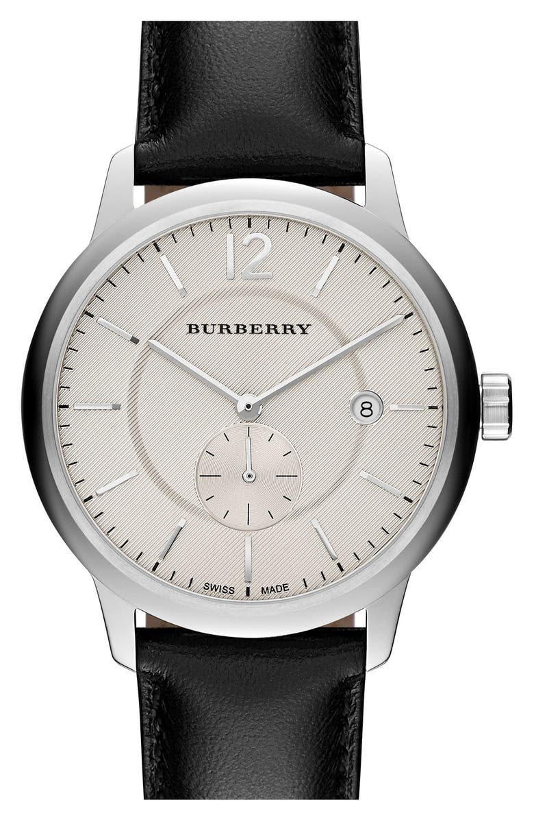BURBERRY Textured Dial Watch, 40mm, Main, color, 001