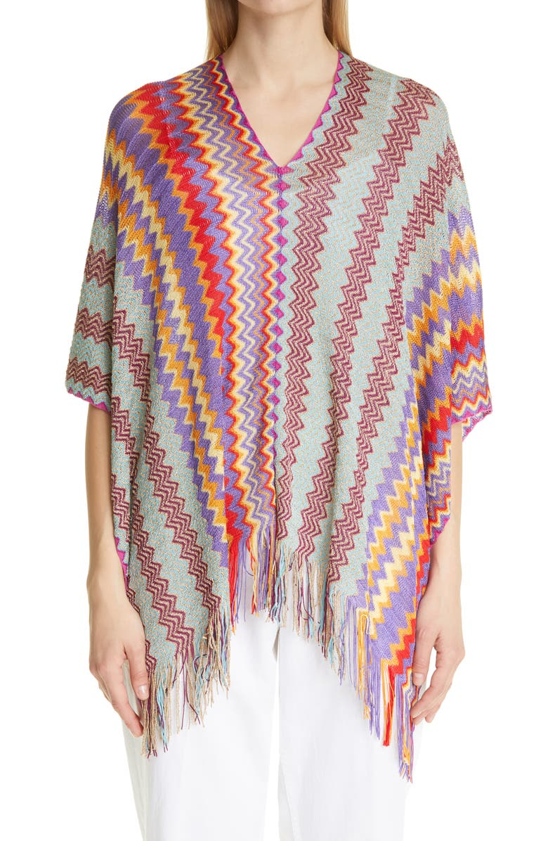 MISSONI V-Neck Zigzag Poncho, Main, color, RED BLUE MULTI