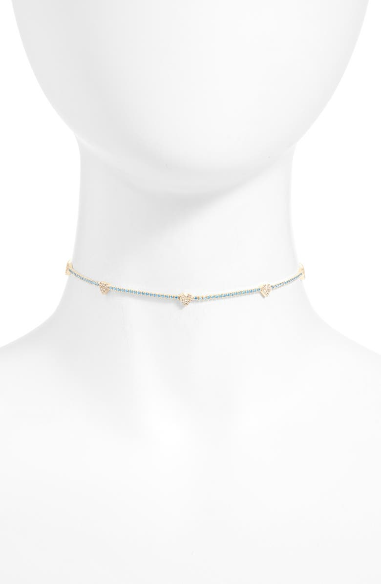 ADINA'S JEWELS Adina's Jewels Pastel Heart Tennis Choker Necklace, Main, color, 400