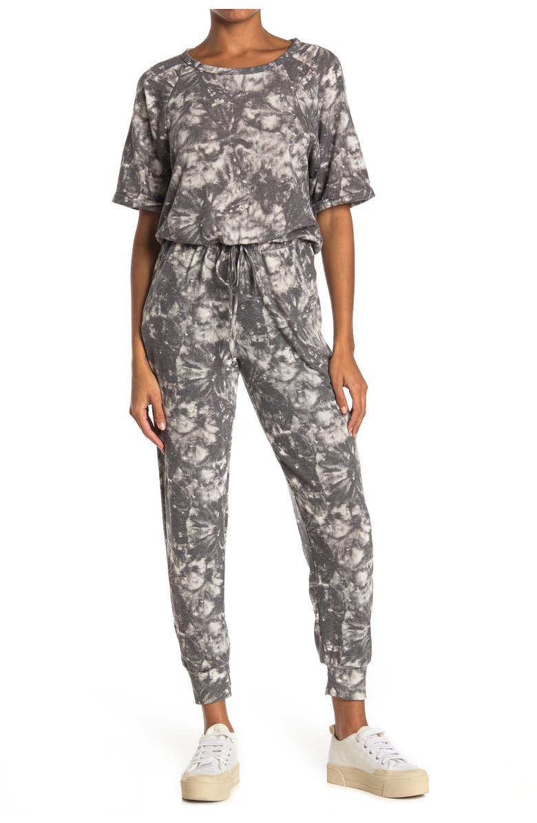 LUSH Printed Short Sleeve Jumpsuit, Main, color, CHARCOAL PRINT