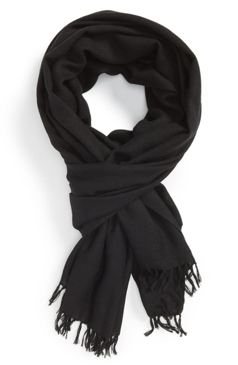 NORDSTROM Tissue Weight Wool & Cashmere Scarf, Main, color, 001