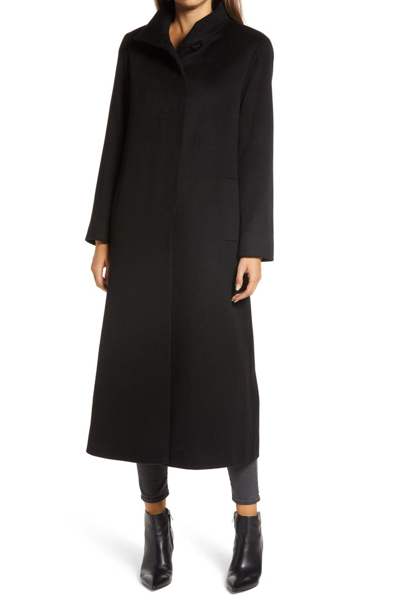 FLEURETTE Long Stand Collar Cashmere Coat, Main, color, BLACK