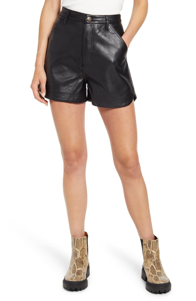 FREE PEOPLE Lita Faux Leather Shorts, Main, color, ABYSS